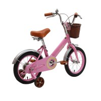 "OEM 14"" Pink Steel Frame Kids Bike Full Chain Guard Children Bicycle With Training Wheels For 3-5 Years Preschool Girl"