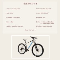 """OEM 27.5"""" MTB Bike Grey With Blue Alloy Frame Mountain Bicycle Double-Alloy 32H Wheelset"""
