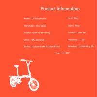 """OEM 16"""" Folding Bike Blue Alloy Frame Floading Bicycle Double-Alloy 32H Wheelset"""