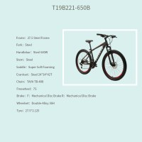 "OEM 27.5"" MTB Bike Black Steel Frame Mountain Bicycle Double-Alloy 36H Wheelset"