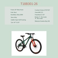 "OEM 26"" MTB Bike Green Alloy Frame MTB Bicycle 12-32T Freewheel"