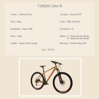 """OEM 29"""" MTB Bike Brown With Orange Alloy Frame Mountain Bicycle Double-Alloy 32H Wheelset"""