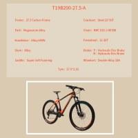 """OEM 27.5"""" MTB Bike Orange Carbon Frame Mountain Bicycle 11-36T Freewheel"""