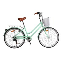 "OEM 26"" City Bike Alloy Frame City Bicycle 14-28T Freewheel Light Green/Blue To Choose"