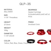 """1-1/8"""" Anodized Threadless Integrated Headset Height 27.5mm"""