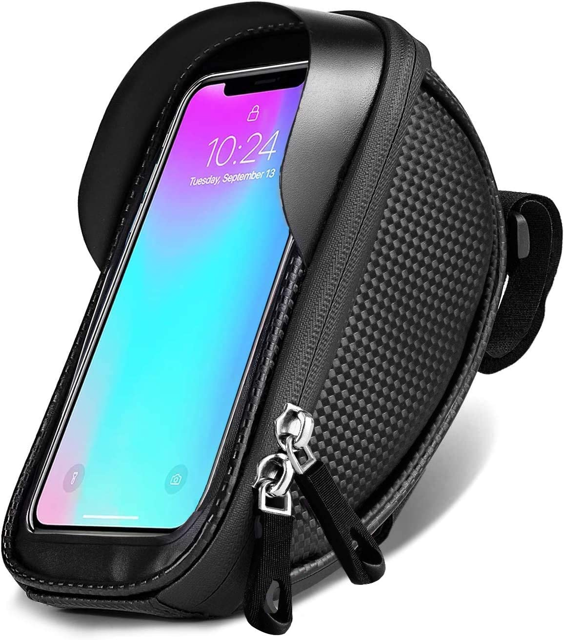 Eletecpro Bicycle Phone Front Frame Bag, Bicycle Phone Bag Bicycle Phone Mount Bag Waterproof Handlebar Bike Phone Case Holder Sensitive Touch Screen