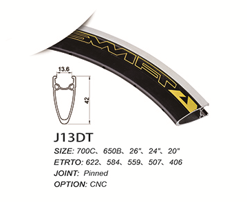 Customized alloy rim with safety line/racing design/width 13.6 height 42mm